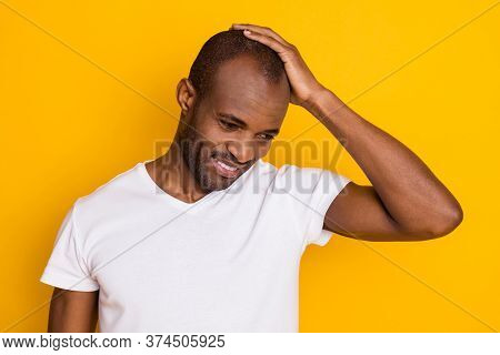 Portrait Of Positive Cheerful Afro American Guy Touch His Hair Enjoy Anti Dander Haircare Spa Salon