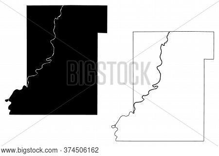 Vigo County, Indiana (u.s. County, United States Of America, Usa, U.s., Us) Map Vector Illustration,