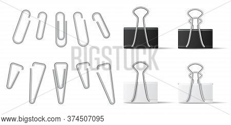 Realistic Paperclip And Binder For File Attachment In Business Document. White And Black Paper Holde