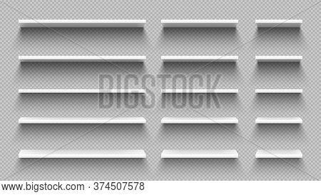 Realistic White Empty Shelves With Shadow Isolated On Transparent Wall Background. Modern Horizontal