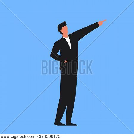 Vector Illustration Of A Successful Businessman Pointing Forward Representing Growth And Success. Co