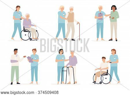 Nurse Cares Of Patient. Family Doctors With People In Hospital, X Ray Examination. Care For Elderly