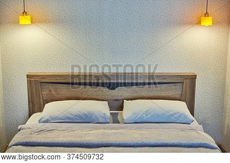 Bedroom With Evening Light. Comfortable Hotel Bed Room In Luxury Apartment. Cozy, Romantic And Intim