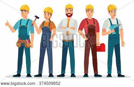 Industrial Workers. Professional Technician, Mechanical Engineer With Helmet And Professionals Exper