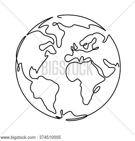 Earth. One Line Globus, World Planet Graphic Icon, America, Europe And Asia Global Technology, Simpl
