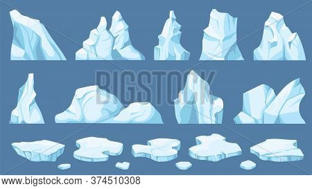 Cartoon Arctic Ice. Icebergs, Blue Floes And Ice Crystals. Icy Cliff, Cold Frozen Block Of Different