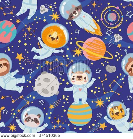 Animals In Space. Seamless Pattern Space Team Cute Animals, Astronauts In Space Suits, Starry Univer