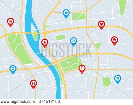 City Map With Pins. Gps Navigation Route With Pointers, Locating Roads And Residential Blocks, Geo T