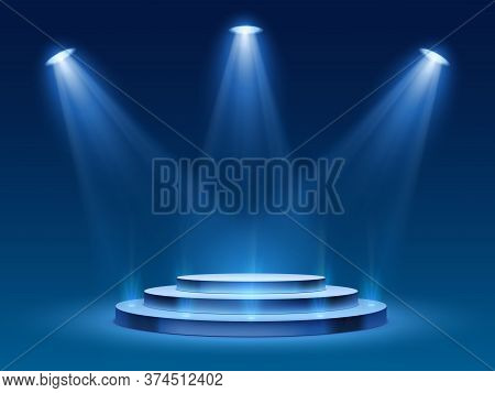 Scene Podium With Blue Light. Stage Platform With Lighting For Award Ceremony, Illuminated Pedestal