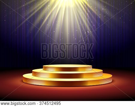 Golden Podium. Empty Gold Pedestal For Award Ceremony, Stage With Spotlight Illuminated Platform For