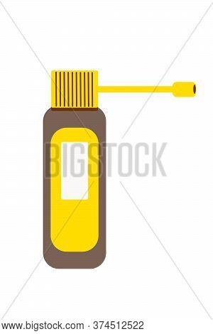 Throat Spray In Flat Style Isolated On White Background. Brown And Yellow Medicine Bottle. Medicatio
