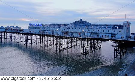 Brighton Pier In England - Aerial View - Brighton, United Kingdom, December 29, 2019