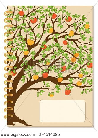 Cover Design With Drawing Tree, Autumn Apples, Blank Space, Beige Backdrop For Tutorial Cover, Schoo