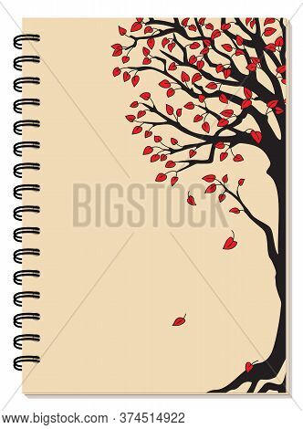 Cover Design With Drawing Black Tree, Red Leaves On The Beige Backdrop For Tutorial Cover, School No