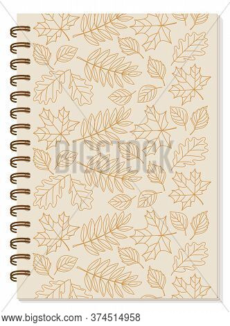 Cover Design With Hand Drawn Patterned Contour Autumn Leaves For Tutorial Cover, School Notebook, Ex