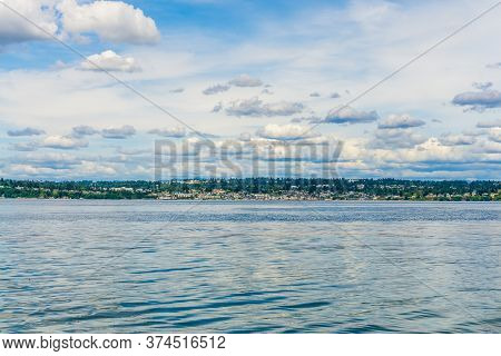 A View Of The Seattle Shoreline From A Ferry.