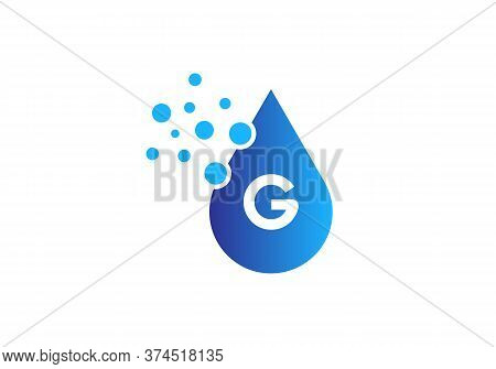 Aqua Logo. Spa Therapy Emblem. Letter G Like A Drop Of Water. Identity. Emblem For Cosmetics Or Clot