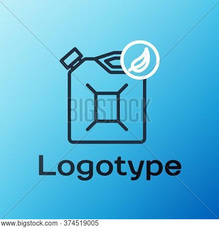 Line Bio Fuel Canister Icon Isolated On Blue Background. Eco Bio And Barrel. Green Environment And R
