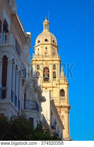 Tower Of The Murcia Cathedral Emerges Over The Buildings To Be Seen By Tourists