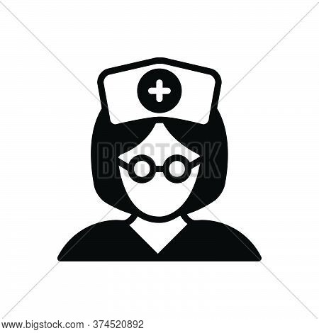 Black Solid Icon For Nurse Sister Avatar Woman Medical Care-taker