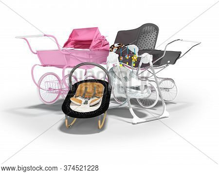 3d Rendering Concept Set For Sleeping Baby, Baby Carriage Pink And Black Hanging Bed On White Backgr