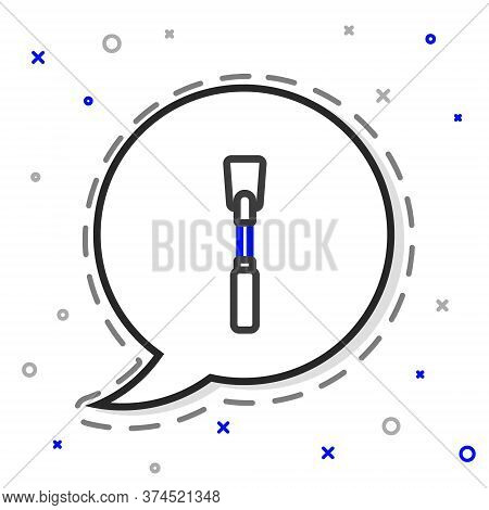 Line Leather Whip Icon Isolated On White Background. Fetish Accessory. Sex Toy For Adult. Colorful O