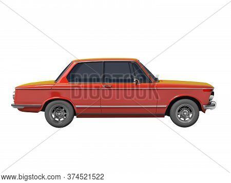 3d Rendering Red Classic Car On White Background No Shadow