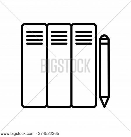 Files And Pencil Line Style Icon Design, Document Data Archive Storage Organize Business Office And