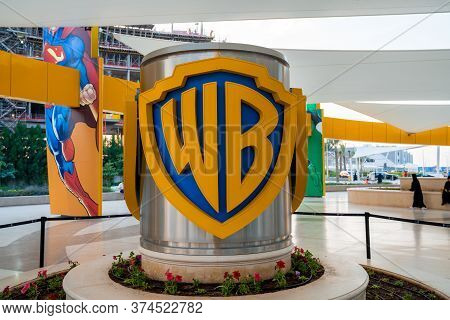 Abu Dhabi, Uae- Circa 2019, Warner Brothers Theme Park. Warner Brothers Sign At The Entrance To The