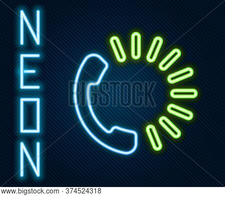 Glowing Neon Line Food Ordering Icon Isolated On Black Background. Order By Mobile Phone. Restaurant