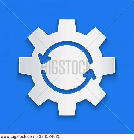 Paper Cut Gear And Arrows As Workflow Concept Icon Isolated On Blue Background. Gear Reload Sign. Pa