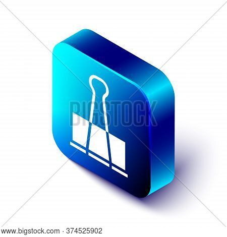 Isometric Binder Clip Icon Isolated On White Background. Paper Clip. Blue Square Button. Vector Illu