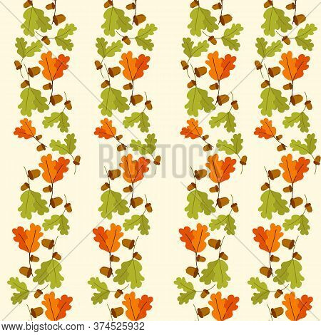 Oak Leaf, Acorns. Pattern On An Autumn Theme With Acorns And Oak Leaves. Vector Seamless Pattern. Ha