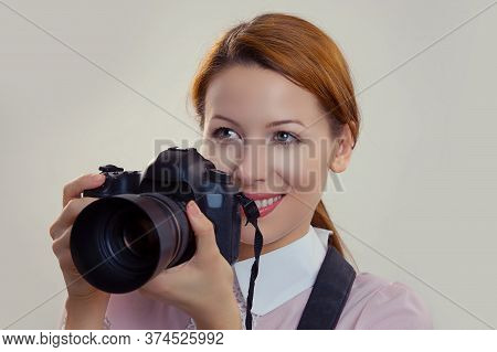Photographer. Closeup Portrait Headshot Young Woman Lady Girl Smiling Taking Pictures Holding Dslr C