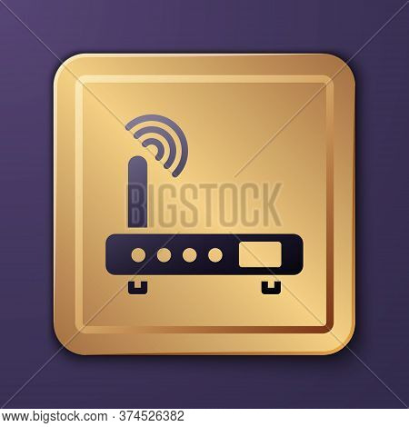 Purple Router And Wi-fi Signal Icon Isolated On Purple Background. Wireless Ethernet Modem Router. C