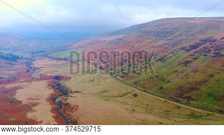The Amazing Landscape Of Brecon Beacons National Park In Wales -aerial Photography