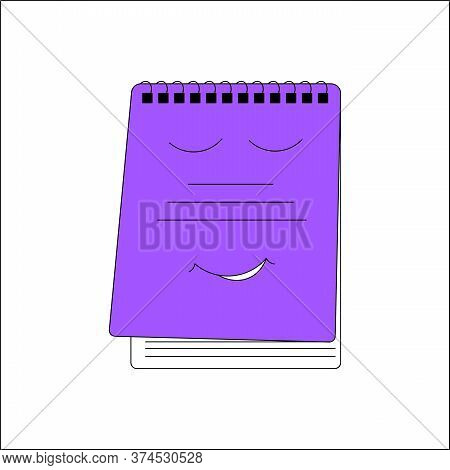 A School Copybook Outline Color Icon. A Study Notebook . Concept Of Education, Back To School. Vecto