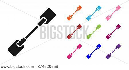 Black Paddle Icon Isolated On White Background. Paddle Boat Oars. Set Icons Colorful. Vector Illustr