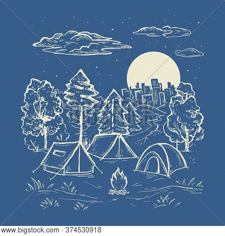 Sketch Vector Of A Forest, Tents, Cloud, Bonfire And Moon. Engraving Style. Touristic Camp With Tent
