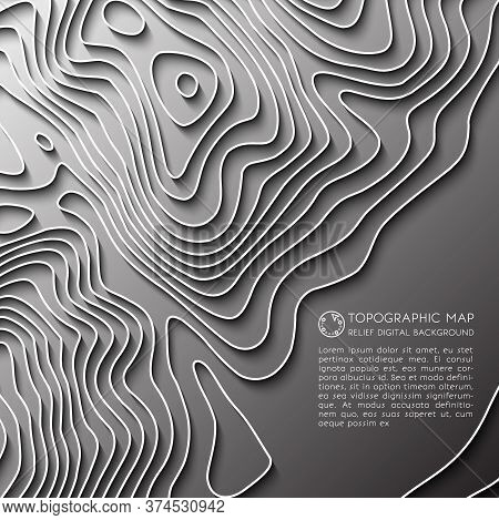 Map Line Of Topography. Vector Abstract Topographic Map Concept With Space For Your Copy. Mountain H