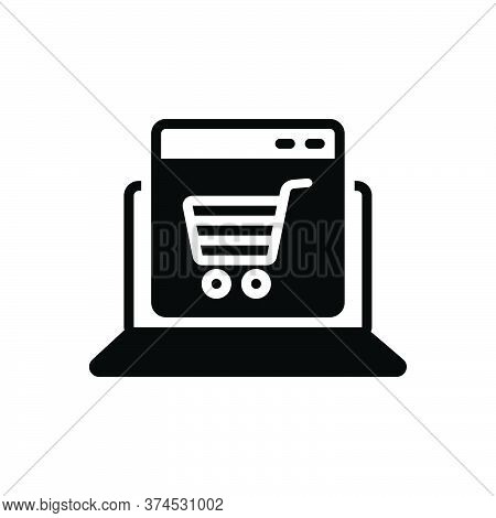 Black Solid Icon For Ecommerce Online Shopping Cart Laptop Trolley