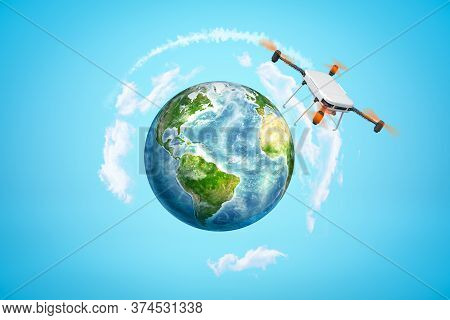 3d Rendering Of Camera Drone That Is Flying Above Earth Sphere Which Is Far In Distance In Blue Sky.
