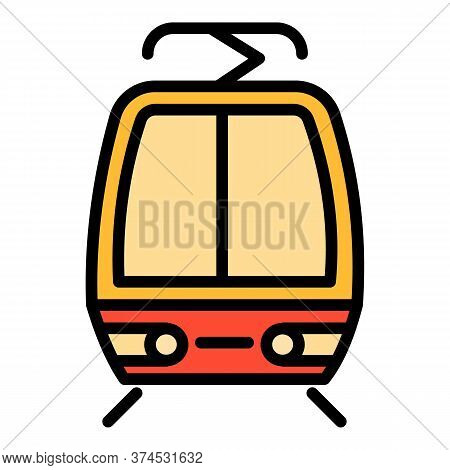 Cable Tram Car Icon. Outline Cable Tram Car Vector Icon For Web Design Isolated On White Background
