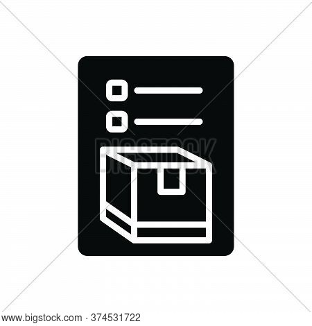 Black Solid Icon For Inventory Merchandise Storage Cargo Goods Packing List