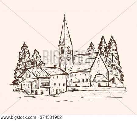 Sketch Vector Illustration With A Church. Italy, Europe. Santa Maddalena. Vintage Hand Drawn Design