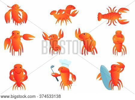 Lobster Icons Set. Cartoon Set Of Lobster Vector Icons For Web Design