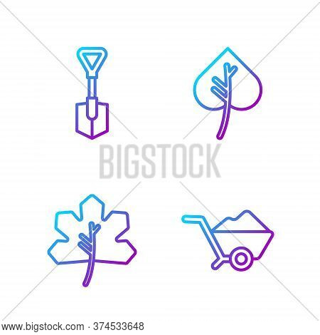 Set Line Wheelbarrow With Dirt, Leaf Or Leaves, Shovel And Leaf Or Leaves. Gradient Color Icons. Vec