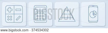 Set Line Calculator, Pyramid Chart Infographics, Calculator And Mobile Phone With Graph Chart. White