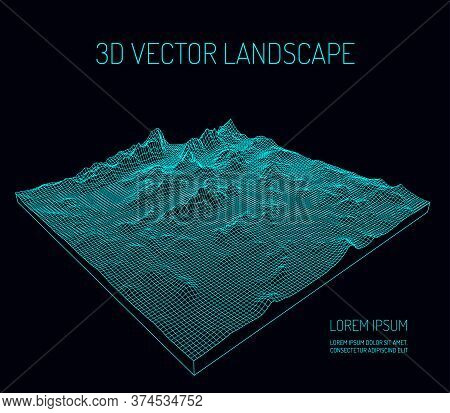 3d Vector Landscape. Contour. Abstract Digital Landscape With Particles Dots And Stars On Horizon. W