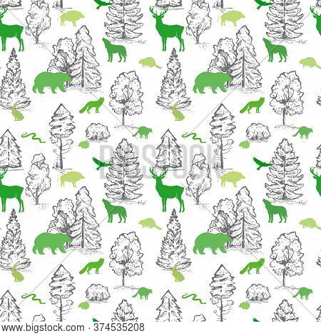 Stylish Vector Seamless Pattern With Sketch Trees And Flat Animals. Eco Concept. Wild Green Animals